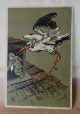 ANTIQUE 1901-06 Postcard STORK Baby by AE Paul Finkenrath Berlin Estonia Stamp
