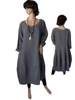 Gr.40 - 48 Kleid Leinenkleid Langarmkleid Ballonkleid Grau Italien LAGENLOOK