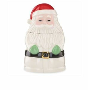 Holiday Santa Cookie or Treat Jar By Lenox Decorate or Great Christmas Gift Idea