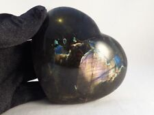 Polished Spectrolite Labradorite Crystal Heart Carving - 95mm, 348g