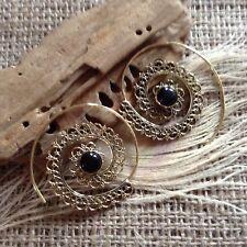 Large Brass & Black Onyx Earrings Mandala Spiral Hook 42mm Tribal Ethnic Gypsy
