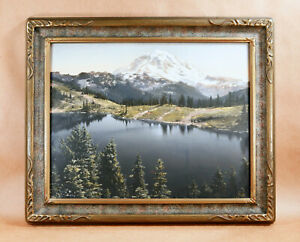 Asahel Curtis Mt. Rainier Eunice Lake Hand-Tinted Arts Crafts Silver Photograph!
