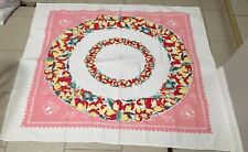 New listing Vintage Card Table Cloth Fruit Cherries Pink Red Yellow Green 52�x45�