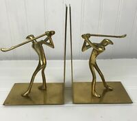 Set of Vintage Bookends Brass Golf Statues Male Golfers Golf
