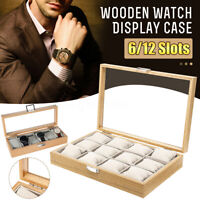 6/12 Slot Wooden Watch Jewelry Storage Holder Box Watches Display Case Xmas Gift