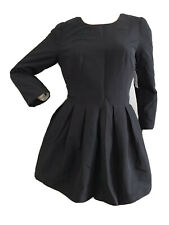 H&M CASUAL FORMAL PARTY BLACK TAFFETA MINI TUNIC DRESS UK 12 EU 38 SMALL BNWT