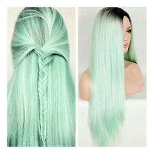 Synthetic Wigs Long Straight Ombre Wig Dark Root Heat Resistant Fiber Mint Green