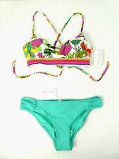 Trina Turk Women's Bikini US 6 2-Piece Set Floral Criss Cross Top Green Bottoms