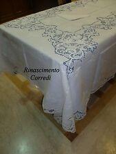 TOVAGLIA TAVOLA X12 CON TOVAGLIOLI RICAMO A MANO BURANO 180X270 PURO LINO BIANCO
