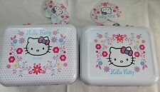 Hello Kitty Folksy Flowers Carry Pencil Tin Case Metal Stationery Lunch Box Pink