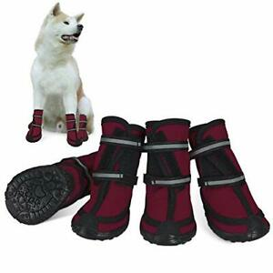 Dog Shoes for Large Dogs Winter Snow Dog Booties with Adjustable Straps Rugge...
