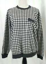 Vintage Cathy Daniels Womens Racing Flag Checkerboard Black White Sweater