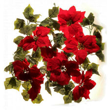 Poinsettia Christmas Garland 182cm Artificial Large Heads Red