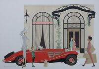 NOYER Denis-Paul : Mercedes Roadster 540K & Plaza Athenée - LITHOGRAPHIE #115EX
