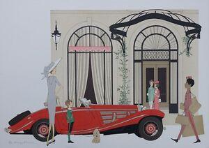 NOYER Denis-Paul : Mercedes Roadster 540K & Plaza Athenée - LITHOGRAPHIE, 115EX
