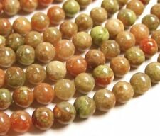 10mm Autumn Jasper Round Beads - 15 inch strand - Beige, Rusty Orange and Green