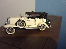 Tin Model Off White With Black Canvas Roof And Trunk Antique Car