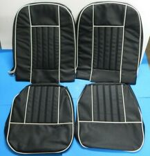 New Front Seat Covers Seat Upholstery MG Midget 1965-68  Black W/ White Trim
