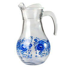 1.8 L Clear Glass Pitcher with Lid with Gzhel Floral Decal
