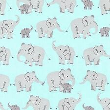 Aqua Elephants Laminated Cotton print By The yard  by 54inch wide