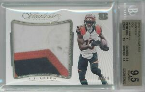 "2015 Panini Flawless A.J. Green Gold Patch ""Dirty"" Game Worn #'ed 03/10 BGS 9.5"