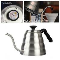 Stainless Steel Coffee Tea Pot Kettle Pour Over Gooseneck 1.2L w/ Thermometer AU