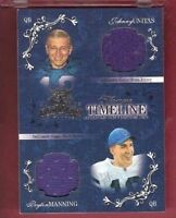 JOHNNY UNITAS & PEYTON MANNING GAME USED JERSEY CARD #d100 COLTS GRIDIRON KINGS