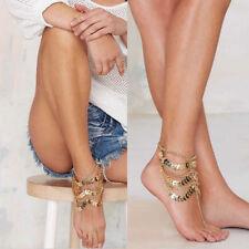 Ankle Toe Ring Bracelet Wedding Beach Women 2pcs Gold Boho Barefoot Sandals Yoga