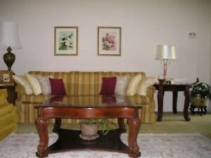 Coffee & End Table Set, Acanthus Leaf Legscherry finish, beveled glass top