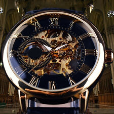 FX- Men 3D Hollow Engraving Case Roman Numbers Skeleton Dial Mechanical Watch Ex