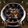 Men 3D Hollow Engraving Case Roman Numbers Skeleton Dial Mechanical Watch Exotic