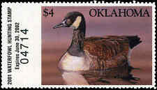 OKLAHOMA #22 2001 STATE DUCK STAMP CANADA GOOSE by Daniel Brevick