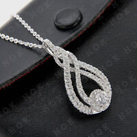 14k Gold White Finish 1.10 Ct Round Cut Diamond Pendant Necklace For Women's