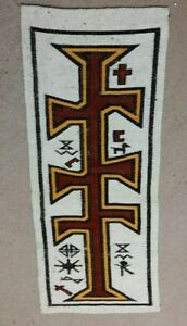 HAND WOVEN RUNNER WALL ART PRAYER RUG RELIGIOUS SYMBOLISM FROM AN OLD CHURCH