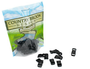 10 - Country Brook Design® 3/8 Inch Black Contoured Side Release Plastic Buckle