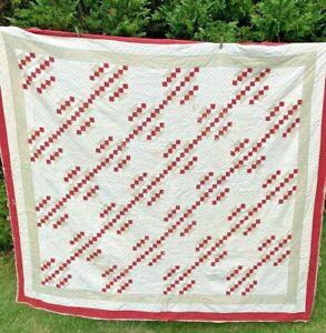Vintage Jacobs Ladder cutter quilt 78X86 Hand Sewn Red Beige White
