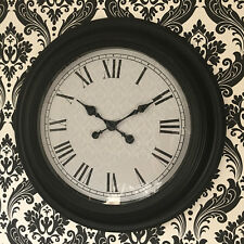 56 cm EXTRA LARGE GIANT SIZE ROUND BLACK FRAME HOTEL SCHOOL OFFICE  WALL CLOCK