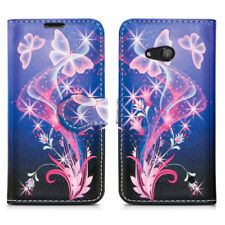 Leather Wallet Flip Book Style Mobile Phone Case Cover for Microsoft LUMIA 550 Ultra Butterfly - Flower Butterflies Fly Fantasy