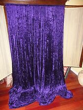 SHABBY CRUSHED VELVET PURPLE RETRO 70's (PAIR) UNLINED PANELS CURTAINS 64 X 85