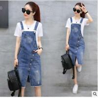 2018 Women Lady Casual Denim Strap Dungaree Dress Jeans Overalls Straight Skirts
