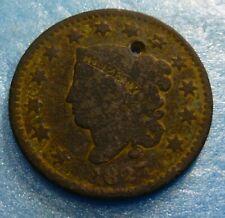 1827  Large Cent   #H27  holed