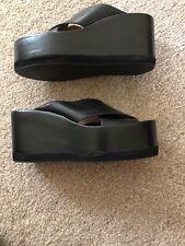 Jeffrey Campbell Black Leather Xcross Platform Sandals** Size 38