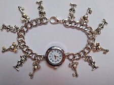 Handmade MICKEY MOUSE  Bracelet Watch With 12  Silver Charms
