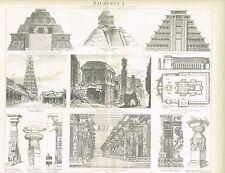 Tafel ARCHITEKTUR / INKAS / MAYAS / INDIEN 1888 Original-Holzstich