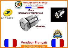 1 Bouton Poussoir Interrupteur BLANC LED Métal 5v - 36v 2A Arduino Voiture 12v