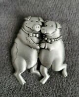 Vintage Signed JJ Jonette Jewellery Pewter Pigs Couple Brooch Pin