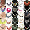 Fashion Womens Bib Flower Crystal Pendant Statement Chain Chunky Choker Necklace