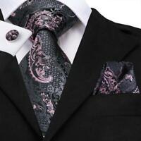 Grey Pink Floral Mens Tie Silk Necktie Set Hanky Cufflinks Label Pin Wedding
