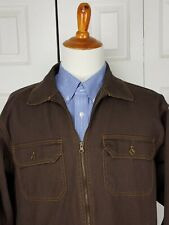 Duke Haband Mens Brown Denim Full Zip Jacket Size L