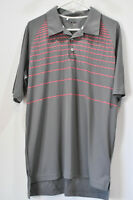 Adidas Mens Size Large Golf Polo Shirt Gray Clima Cool Pink Stripe Short Sleeve